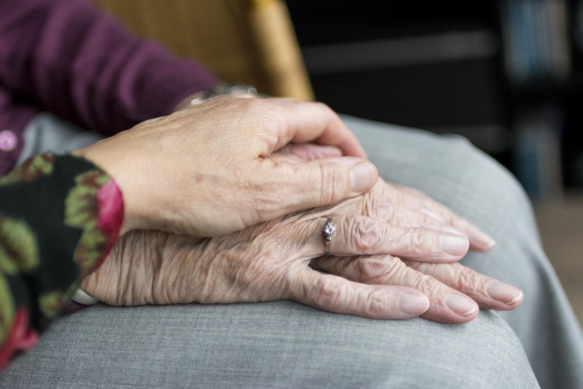 To mennesker holder i hånd